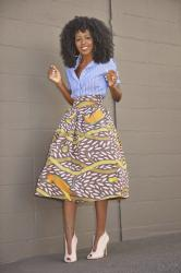 Striped Shirt + Printed Midi Skirt