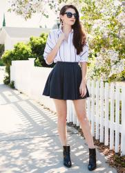 striped blouse and a circle skirt