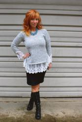 Lace Trimmed Sweater & Black Pencil Skirt: Buck Running Amuck