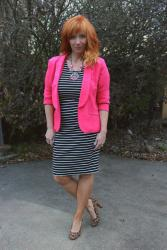 Pink Blazer & Striped Dress: Here's Something Different