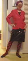 Red Argyle and Black Sequins