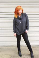Cowl Neck Tunic Sweater & Distressed Skinnies: It's Christmas Already?