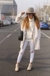 ALL WHITE WITH CHUNKY HEEL BOOTIES