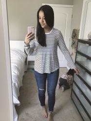 REVIEWS: Faux Leather Jackets Under $50, Striped Tee, Nike Tanjuns