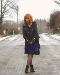 Blue Lace Slip Dress & Moto Jacket: A Moment In Time