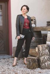 Favourite black leather jacket and Zara trousers with eye-catching details