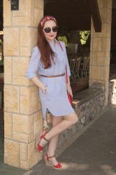 Shirt Dress and Platform Shoes