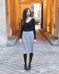 [INSTANT COULEUR] New year silver accordion skirt