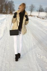 Faux fur and white pants