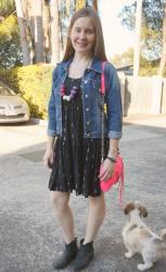 Printed Dresses and Ankle Boots for Spring with Neon Pink Mini MAC Bag