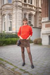 Outfit: polkadot tights, red and green