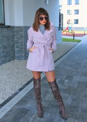 pastel pink trench coat