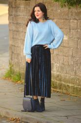 Crushing on A Crushed Velvet Midi Skirt (& #Passion4Fashion Linkup)
