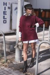 oversized sweater + military boots