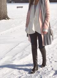 light winter colors + cozy cardigan