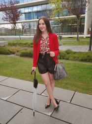 Red Blazer + Leather Shorts