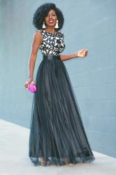 Walmart Glam Evening Look 2: Embroidered Black & White Tulle Gown