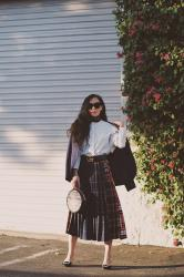 Navy Blazer & Checked Skirt