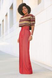 Embroidered Crop Top + High Waist Houndstooth Pants
