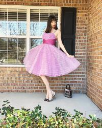 {Review} Unique Vintage Lavender Ruffled Tulle Cupcake Swing Dress