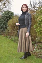 Bronze Faux Leather Pleated Skirt and Patent Boots + Link Up