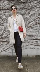 Simple + neutral with a red crossbody bag