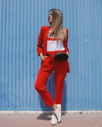 Red suit look