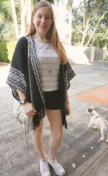Two Ways To Wear Rebecca Minkoff Ruana Poncho with Shorts: Adding Autumn Layers to Summer Outfits