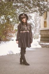 A Black Embroidered Dress in a Winter Wonderland