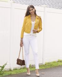 An All White Look with a Pop of Yellow