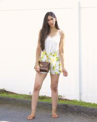 Lace Cami and Lemon Printed Shorts