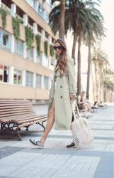 total white look + green trench