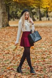 [OOTD] AUTUMN VIBES, TURTLENECK SWEATER, BURGUNDY SKIRT