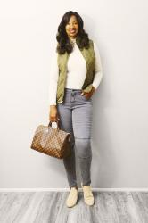 Olive Quilted Vest and Ivory Turtleneck