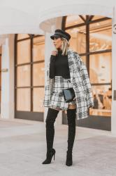 how to wear a black and white plaid checkered tweed set