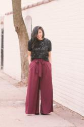 How to Wear Sequins & Wide-Leg For The Holidays
