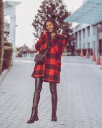 Dressed in Holiday red ( +5 leather boots I love right now)