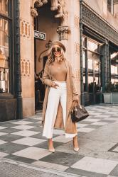 Hello January! Start the new year with a classic look. Camel Long Coat +White Culottes and how to save money on a designer bag
