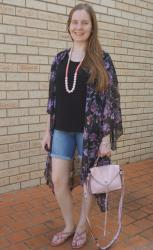 Plain Tees, Floral Kimonos, Denim Shorts and Rebecca Minkoff Darren Bag | Weekday Wear Linkup