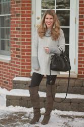 Light Grey Tunic & Leather Leggings & Confident Twosday Linkup