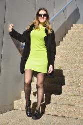 Neon Dress and Black Coat