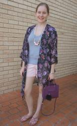 Shorts, Tees and Printed Kimonos With Purple Mini MAB Tote Bag