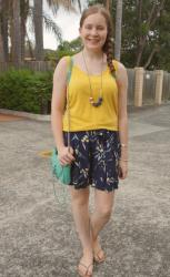 Printed Culotte Shorts With Plain Tops and Mini MAC Cross Body Bags