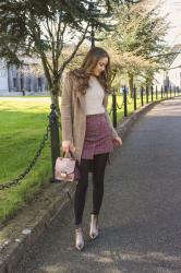 Spring Girly Outfit :: Check Tweed Miniskirt and Cozy Beige Sweater