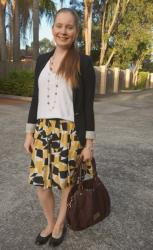 Weekday Wear Linkup! Printed A-line Skirts and Plain Tees With Marc Jacobs Fran Bag