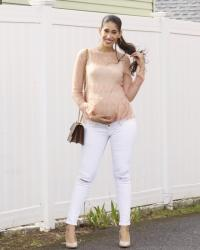 Tiered Lace and White Denim