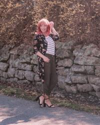 Floral Print Duster & Striped Tee: Weekly Randomness
