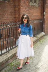Jeans shirt, white midi skirt and red pops