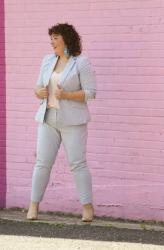 Women's Seersucker Pantsuit with Blush Pink