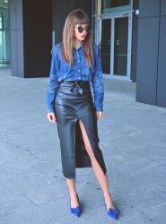 paisley denim shirt and leather midi skirt